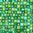 Green environment icons seamless pattern background — Stock Vector