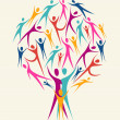 Diversity human colors tree set — Stockvektor
