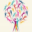 Diversity human colors tree set — Stock Vector