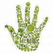 Green hand with environmental icons — Stock Vector