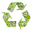 Green recycling symbol with environmental icons — Stock Vector