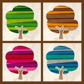 Four season multicolor tree set — Stock Vector