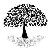 Big tree silhouette — Stock Vector