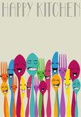 Happy color cutlery — Stock Vector