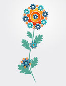 Gear machine flower concept — Stock Vector