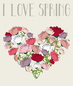 I love spring flower heart background — Stock Vector