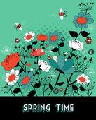 春の時間の庭の背景 — ストックベクタ