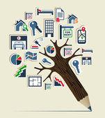 Real estate icon set pencil tree — Stock Vector