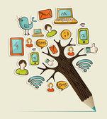 Social pencil tree — Stock Vector