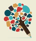 Social media concept pencil tree — Stock Vector