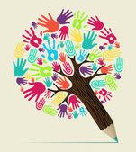 Rozmanitost ruka koncept tužka strom — Stock vektor