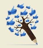 Thumb up OK concept pencil tree — Stock Vector