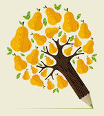Healthy fruit concept tree — Stock Vector