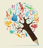 árbol de estudios musicales concepto lápiz — Vector de stock