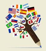 Vlag verscheidenheid concept potlood boom — Stockvector