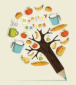 Healthy food concept pencil tree — Stock Vector