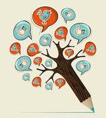 Albero di media sociali concetto matita — Vettoriale Stock