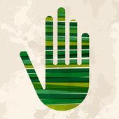 Vintage multicolor green hand — Stock Vector