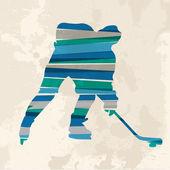 Vintage multicolor hockey player — Stock Vector