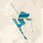Vintage multicolor Skier — Stock Vector
