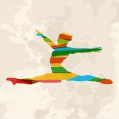 Vintage multicolor gym woman — Stock Vector