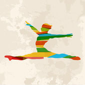 Vintage multicolor sportschool vrouw — Stockvector