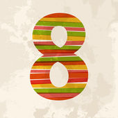 Vintage multicolor number eight — Stock Vector