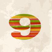Vintage multicolor number 9 — Stock Vector