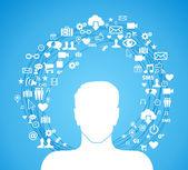 Active social media man — Stock Vector