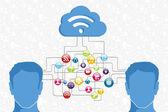 Social media man diagram — Stock Vector