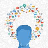 Social media man in action — Stock Vector