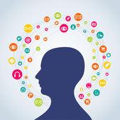 Social media concept man — Stock Vector