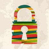 Vintage multicolor Padlock — Stock Vector