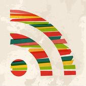 Vintage multicolor rss symbol — Stock Vector