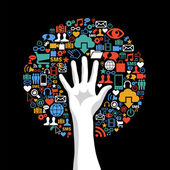 Social media networks hand concept tree — Vettoriale Stock