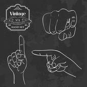 Vintage chalkboard finger pointing — Stock Vector