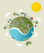 Go green world design — Stock Vector