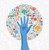 Diversity social media hand tree — Stock Vector