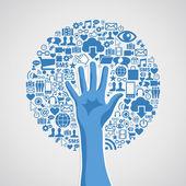 Albero di media sociali reti mano concetto — Vettoriale Stock