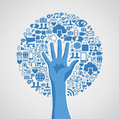 Sociální média sítí ruka koncept strom — Stock vektor
