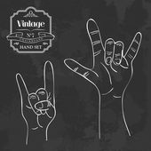 Vintage chalkboard Rock and Roll hand sign — Stock Vector