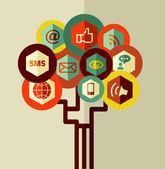 Abstract social network tree — Stock Vector