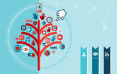 Techno social network tree design — Stock Vector