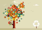 Sustainable life tree — Stock Vector