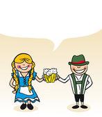 German cartoon couple bubble dialogue — Stock Vector
