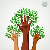 Diversiteit handen groene concept boom — Stockvector