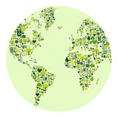 Green world made of icons — Stock Vector