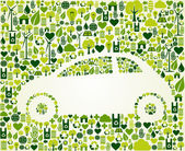 Green car with eco icons set — Stock Vector