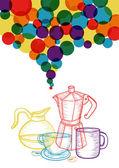 Coloré café social défini le concept — Vecteur