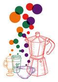 Vintage café définie le concept de social — Vecteur